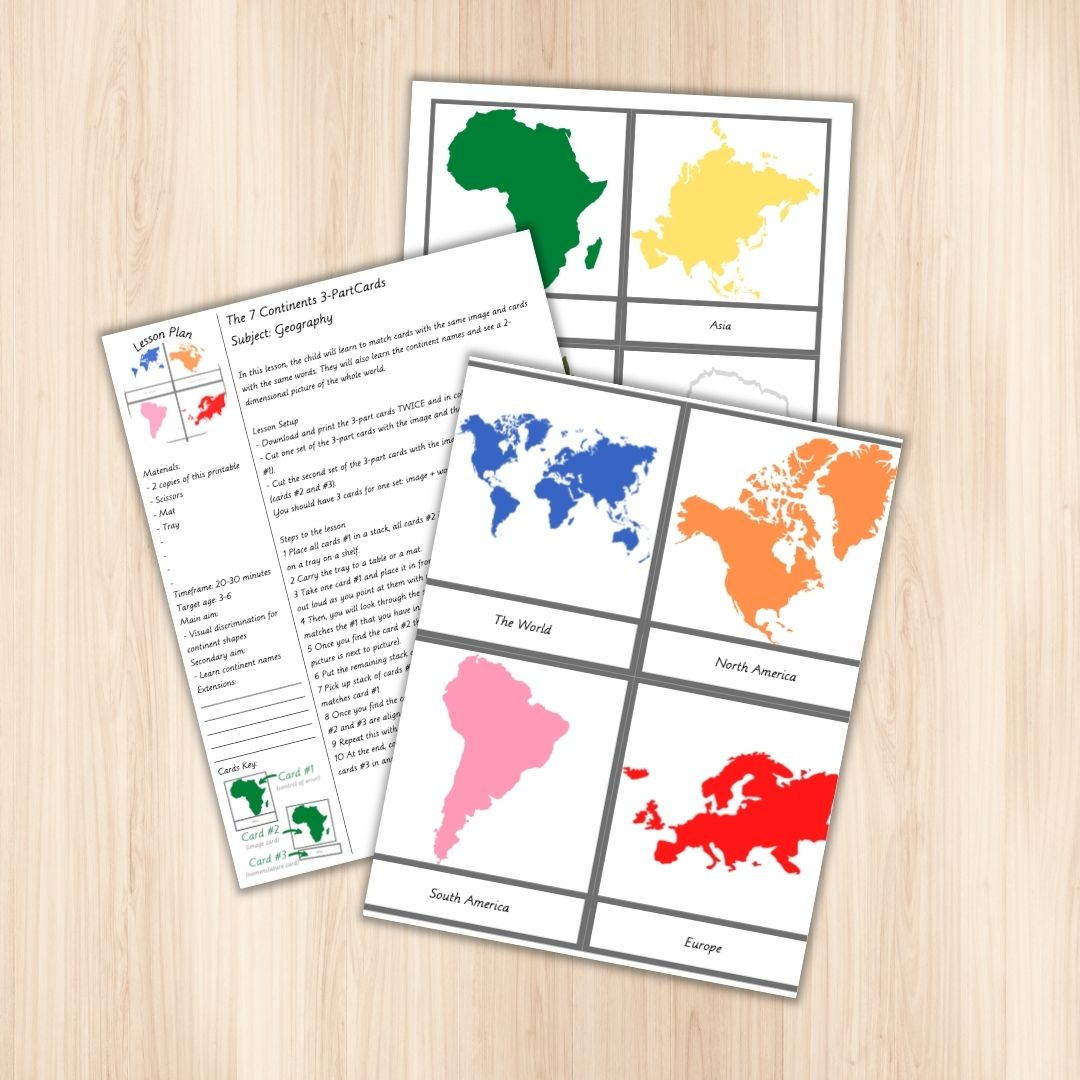 Geography is such a beautiful and visual subject! This set of 3-part cards will make it a lot easier for children to recognize and learn the names and shapes of the 7 continents. It also includes the cards with the world and a detailed step by step lesson plan.