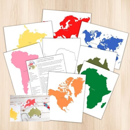 Are you interested in combining two Montessori subjects into one activity? Then this is perfect for that! With this continent lacing activity, the child will practice fine motor skills (as part of Montessori Practical Life) as well as learn the shapes and names of the 7 continents and the world. It includes a details step by step lesson plan.